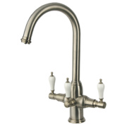 Brita Kelda 3-Way Sink-Mounted with Swivel Spout Mono Mixer Kitchen Filter Tap Brushed Nickel