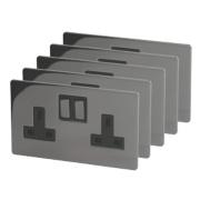 LAP 13A 2-Gang DP Switched Plug Socket Black Nickel Pack of 5