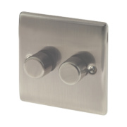 British General 2-Gang 2-Way Push Dimmer Switch 400W Brushed Iridium