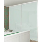 2 Door Sliding Wardrobe Doors White Frame White Glass Panel 1480 x 2330mm