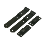 Gate Hinges Straight Hook & Band Pack Black 40 x 254 x 140mm