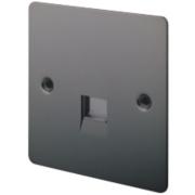 LAP 1-Gang Slave Telephone Socket Black Nickel