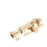 Straight Door Bolt Polished Brass 51mm