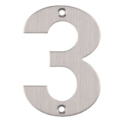 Eclipse Door Numeral 3 Satin Stainless Steel