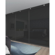 3 Door Sliding Wardrobe Doors Black Frame Black Glass Panel 2660 x 2330mm