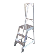 Single Sided Fixed Platform Ladder Aluminium 5 Treads 1.22m