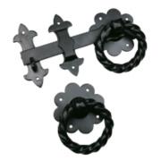 Antique Heavy Ring Gate Latch Black 260mm