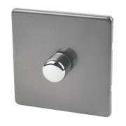 Varilight 1-Gang 2-Way 400W Push Dimmer Slate Grey