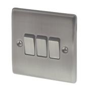 British General 3-Gang 2-Way 10AX Light Switch Brushed Iridium