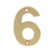 Door Numeral No. 6, 9 Polished Brass Effect