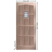Jeld-Wen Sheff Redesdale External Door Unfinished Oak Veneer 813 x 2032mm
