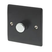 British General 1-Gang 2-Way Push Dimmer Switch 400W Matt Black