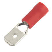 Insulated Crimp Red Male Push-On 6.3mm Pack of 100