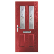 Carnoustie 2-Light Composite Front Door Red GRP 880 x 2055mm