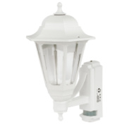 ASD 100W White Coach Lantern Outdoor Wall Light with PIR