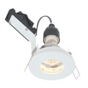 LAP Fixed Round Mains Voltage Bathroom Downlight Gloss White 240V