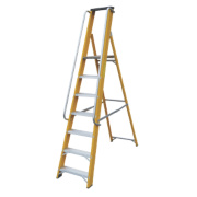 Lyte Platform Ladder with Safety Handrails Aluminium Alloy 7 Treads 2.1m