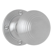 Jedo Victorian Ribbed Mortice Knob Pair Satin Chrome 60mm