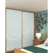 2 Door Sliding Wardrobe Doors Oak Effect Frame White Panel 756 x 2330mm