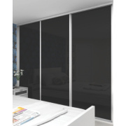 3 Door Sliding Wardrobe Doors White Frame Black Glass Panel 2660 x 2330mm
