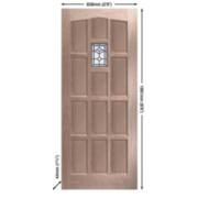 Jeld-Wen Sheff Redesdale External Door Unfinished Oak Veneer 838 x 1981mm