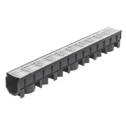 FloPlast FloDrain Channel Drain & Galv. Grate Black/Silver 101cm x 115mm