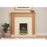 Be Modern Avondale Surround, Back Panel, Hearth & Deepline Brass Gas Fire Brass & Marfil Micro Marble