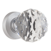 Jedo Faceted Glass Mortice Door Knob Pair Satin Chrome 55mm Pack of 2