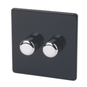 Varilight 2-Gang 1/2Way Jet Black Push Dimmer 2 x 250W