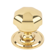 Octagonal Centre Door Knob Polished Brass mm