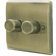 British General 2-Gang 2-Way Push Dimmer Switch 400W Antique Brass