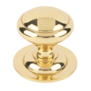 Plain Round Centre Door Knob Polished Brass mm