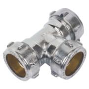 Conex Chrome Compression Equal Tee 28mm