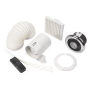 Manrose In-Line LED Shower Light Fan Kit Bright Chrome mm