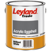Leyland Trade Acrylic Eggshell Emulsion Paint Brilliant White 2.5Ltr