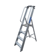 Lyte Heavy Duty Platform Ladder & Safety Handrails Aluminium 4 Treads 1.46m