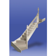 Stairways Turned Bottom Double Winder Staircase RH White