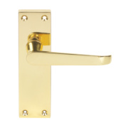 Victorian Straight Straight Lever Lock Pair Brass Effect