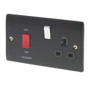 British General 45A DP Cooker Switch & 13A Switched Plug Socket Matt Black