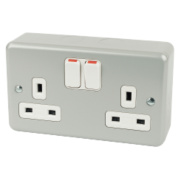 MK 13A 2-Gang DP Switched Plug Socket Metal-Clad
