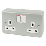 MK 13A 2-Gang DP Switched Plug Socket Metal-Clad