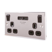 LAP 13A 2-Gang Switched Socket & USB Charger Port Polished Chrome