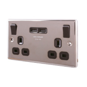 LAP 13A 2-Gang Switched Socket & USB Charger Port Black Nickel