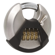 Sterling Stainless Steel Disc Combination Padlock Satin Stainless Steel 115mm