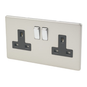 Varilight 2-Gang 13A DP Switched Socket Satin Chrome