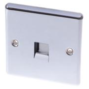 LAP 1-Gang Slave Telephone Socket Polished Chrome