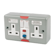 MK 2-Gang RCD Active Switched Plug Socket Metal-Clad