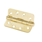 Eclipse Fire Hinge Radius Corners Electro Brass 102 x 76mm Pk3