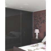 2 Door Sliding Wardrobe Doors Black Frame Black Glass Panel 764 x 2330mm