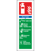Dry Powder Extinguisher ID Signs 280 x 90mm Pack of 100